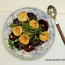 Punajuuri-vuohenjuustosalaatti ja hasselpähkinäkastike