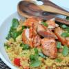 Couscous-kikhernesalaatti & paistettu sumakkilohi