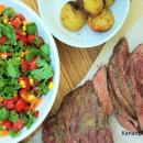 Grillattu flank steak chili-limevoilla & maissi-tomaattisalsa