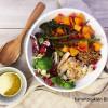 Lämmin kana-kurpitsasalaatti & appelsiinivinegretti