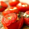 Ihanasti räjähtäneet tomaatit,  pestopastaa & pekonia