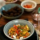Spelttirisotto paahdetuilla porkkanoilla & fetalla