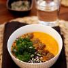 Paahteinen bataatti-porkkanasosesoppa  (kasvispyöryköillä tai ilman)