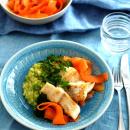 Paistetut kuhafileet suolaliemessä & mausteiset porkkanat