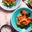 Paahdetut harissajuurekset & sitruuna-persiljakastike