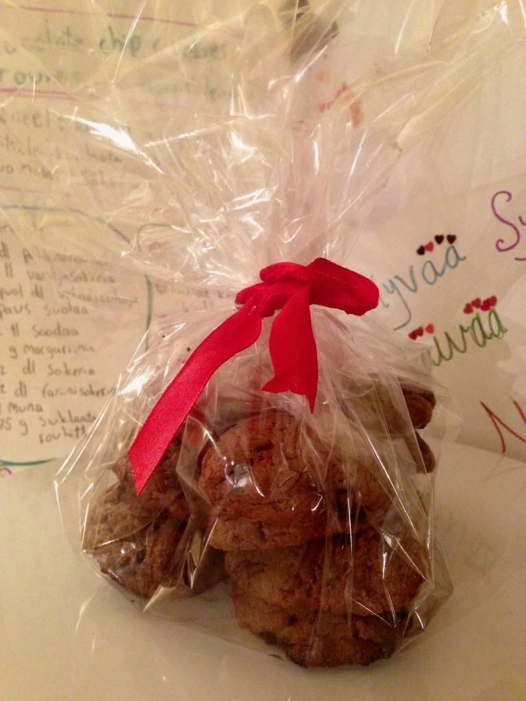 Suklaisia keksejä pussissa