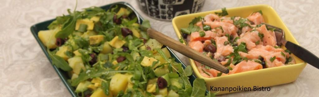 Avokado-perunasalaatti ja sitruunalla kypsennettyä lohta