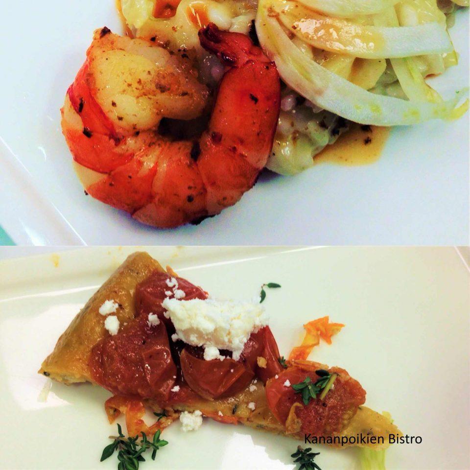 Fenkoli- rapurisottoa ja tomaattista tarte tatinia