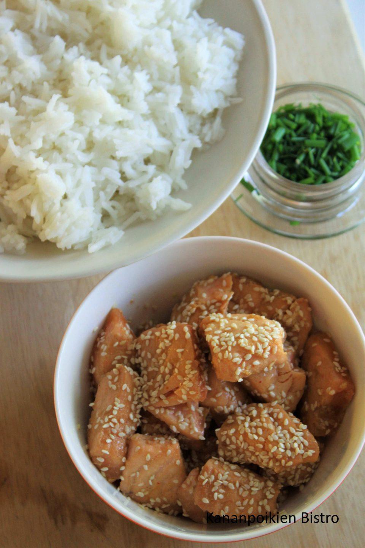 Pikapaistetta lohta ja riisiä