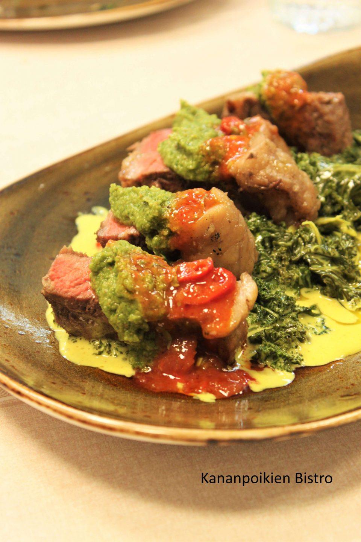 Makurasvallista ulkofilettä, curryä ja brasilialaista pestoa