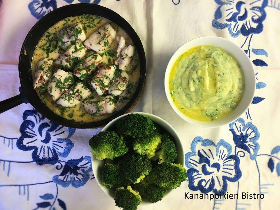 Ahvenrullat, tillimuussi ja sitruunaista parsakaalia