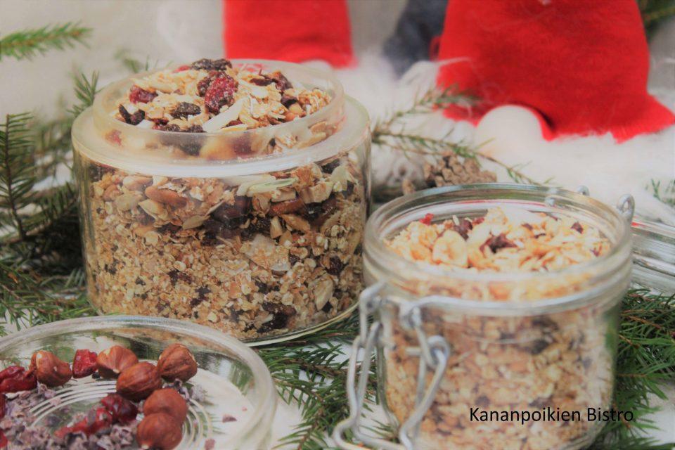 Jouluinen kaakao-karpalomysli